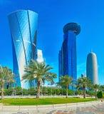 En el distrito financiero de Doha, Qatar imágenes de archivo libres de regalías