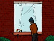 En el exterior que mira adentro stock de ilustración