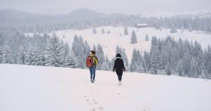 En el medio de la montaña con los amigos del paisaje que sorprendían dos una individuo y señora llegaron en lugar que sorprendía, metrajes