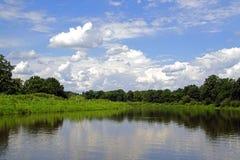 En el medio de verano julio Cielo azul de Pripyat del río alto Nubes blancas Reflexión en el río Imagen de archivo libre de regalías