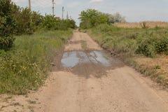 En el medio del camino de tierra hay un charco despu?s de lluvia, hierba verde crece grueso en los lados del camino fotos de archivo