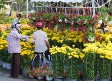 En el mercado de la flor antes de Tet (Año Nuevo lunar) Fotos de archivo