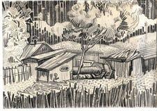 En el país en una aldea con un tubo. stock de ilustración