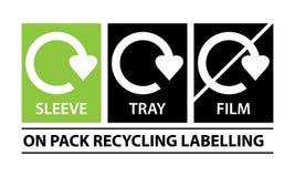 En el paquete que recicla vector de las etiquetas stock de ilustración