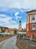 En el puente de las mentiras Sibiu, Rumania fotos de archivo libres de regalías