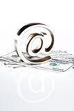En el símbolo en el dinero Imagen de archivo