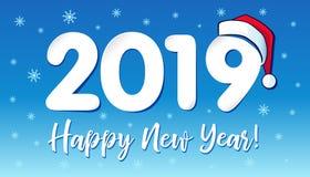2019 en el sombrero de Santa Claus, diseño de tarjeta de la Feliz Año Nuevo ilustración del vector