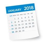 En enero de 2018 hoja del calendario - ejemplo stock de ilustración