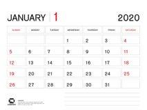 En enero de 2020 plantilla del a?o, vector 2020, dise?o del calendario del calendario de escritorio, comienzo de la semana el dom libre illustration