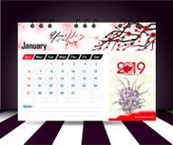 En enero de 2019 Plantilla del planificador del calendario de pared Plantilla de la impresión del diseño del vector con el lugar  stock de ilustración