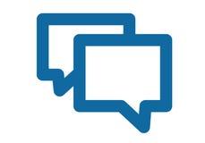 En enkel blå symbol om meddelandet, pratstunden eller konversationen Två bubblor som överlappar sig Fotografering för Bildbyråer