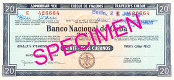 En enkel handelsresandecheck för kubansk peso 20 vänder om arkivbilder