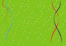 En enkel julbakgrund med konfettier och band Royaltyfri Foto