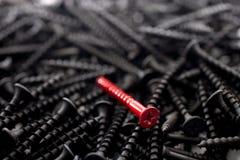En enkel röd skruv mot ett antal svarta skruvar Arkivbild