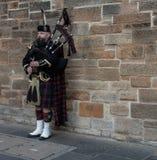 En enkel skotsk pipbl?sare i traditionell kilt royaltyfri fotografi