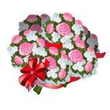 En enorm bukett av blommor som binds med det röda bandet med bowknoten som isoleras på vit bakgrund också vektor för coreldrawill vektor illustrationer