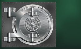 En enorm dörr för metallrundakassaskåp Pålitlig besparing av hemligheter och lösenord Arkivbild