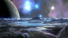 En enorm måne i himmelfrämlingplaneten lager videofilmer