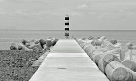En ensam kustfyr B&W royaltyfria bilder