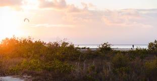 En ensam man som står på en strand som håller ögonen på en drakesurfare och solnedgången på Isla Blanca nära Cancun fotografering för bildbyråer