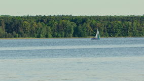En ensam yacht på sjön arkivfilmer