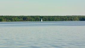 En ensam yacht på sjön stock video