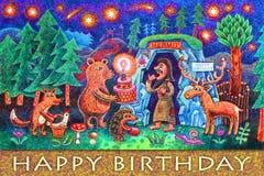 En ensling har en födelsedag i dag En räv, en björn, en igelkott och en hjort kom att gratulera honom royaltyfri illustrationer