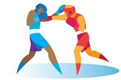 En envis duell mellan två unga boxare stock illustrationer