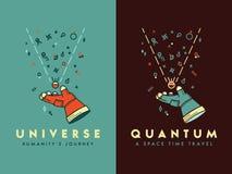 En espacez l'illustration de vecteur de voyage du ` s d'humanité d'univers pour nous illustration stock