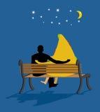 En estrellas miradas pizza Noche de la fecha El hombre y el pedazo de pizza se sientan encendido Foto de archivo