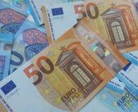 50 en 20 euro nota's, Europese Unie Stock Afbeeldingen