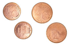1 en 2 Eurocent Royalty-vrije Stock Foto