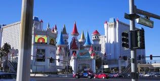 En Excalibur som skjutas på Tropicana och Las Vegas Boulevard Arkivbilder