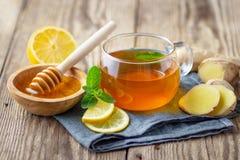 En exponeringsglaskopp te med citronen, mintkaramellen, ingefäran och honung royaltyfri fotografi