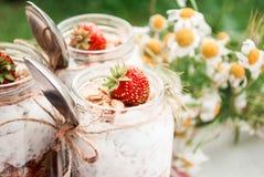 En exponeringsglaskrus med en efterrätt av jordgubbar, yoghurt med Chia och granola på en picknick i en lantlig stil royaltyfri bild