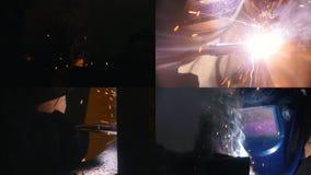 4 en 1 - exposición industrial proceso de soldadura en fábrica metrajes