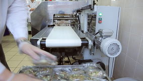 En fábrica del aeropuerto el trabajador de sexo masculino está clasificando el envase de comida almacen de metraje de vídeo