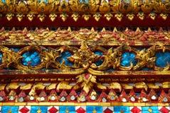 En färg av den thai arkitekturmodellen och thai konst Arkivfoton