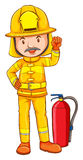 En färgad teckning av en brandman Royaltyfria Bilder