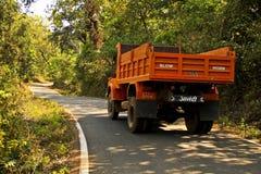 En färgglad hand målad indisk lastbil Arkivfoton