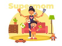 En färgglad illustration av en supermom som har supermakter stock illustrationer