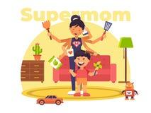 En färgglad illustration av en supermom som har supermakter stock illustrationer