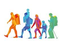 En färgrik familj av fotvandrare vektor illustrationer