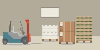 En färgrik gaffeltruck i en lagerpäfyllning boxas vektor illustrationer