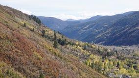 En färgrik nedgång på bergsidan i asp royaltyfri fotografi