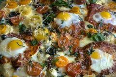 En färgrik textur av en läcker pizza Royaltyfri Fotografi