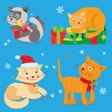 en förälskad katt Uppsättning av gulliga små julkatter stock illustrationer