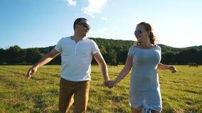 En förälskad spring för unga par till och med fältinnehavhänderna stock video