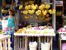 En försäljare förbereder fruktfruktsaft i hennes fruktställning i en marknad i Cainta, Filippinerna arkivbild
