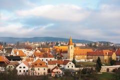 En fabulously härlig sikt av staden av Cesky Krumlov i Tjeckien Favorit- ställe av turister från över hela arkivfoton